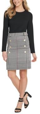 DKNY Button-Trim Plaid-Skirt Dress