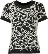 Vera Wang pearl embroidered T-shirt