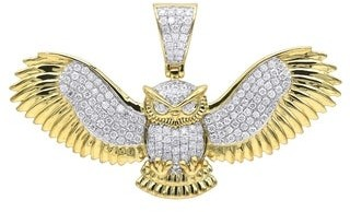 """Real Diamond Owl Pendant Large in Solid 10K Gold 1.1ctw & 18"""" Chain by Luxurman"""