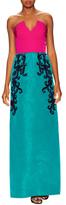 Oscar de la Renta Raffia And Bead Embroidered Column Gown