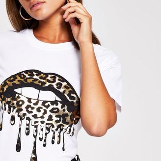 River Island Womens White leopard lips printed t-shirt