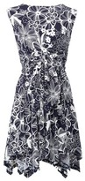 Dorothy Perkins Womens Izabel London Navy Floral Print Hanky Hem Dress, Navy