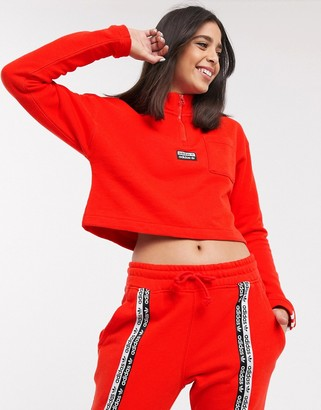 adidas high neck cropped sweat in red