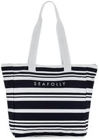 Seafolly Fringe Benefits Striped Beach Tote Bag & Towel, Blue/White