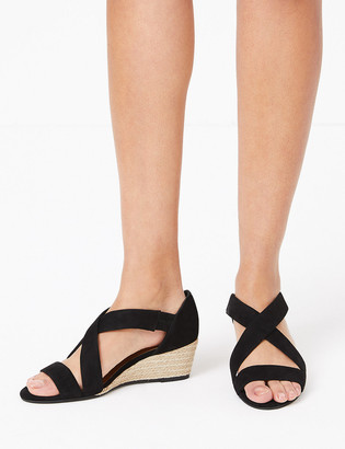 Marks and Spencer Suede Wedge Heel Crossover Strap Sandals