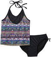 Girls 7-16 SO® Mesh Yoke 2-pc. Halter Tankini Swimsuit Set