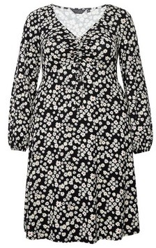 Dorothy Perkins Womens Dp Curve Black Fit And Flare Dress, Black