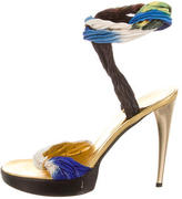 Roberto Cavalli Round-Toe Wrap Around Sandals