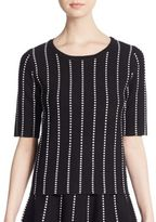 Saks Fifth Avenue BLACK Striped Knit Top