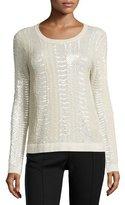Prabal Gurung Snakeskin Embellished Cashmere Pullover, Ivory