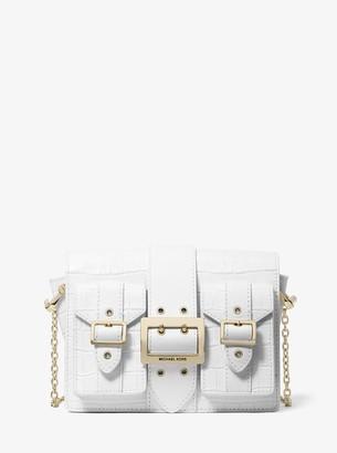 MICHAEL Michael Kors Hayden Medium Crocodile Embossed Leather Messenger Bag