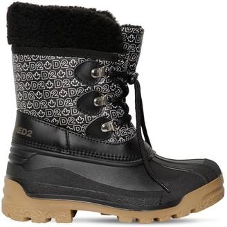 DSQUARED2 All Over Print Nylon & Rubber Snow Boots