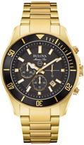 Bulova Men's Marine Star Collection Goldtone Black Dial Chronograph Watch