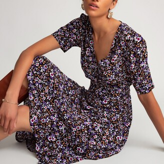 La Redoute Collections Ditsy Floral Print Midi Dress with V-Neck and Short Puff Sleeves