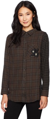 Democracy Women's L/s Button Down W/Contrast Side & SLV