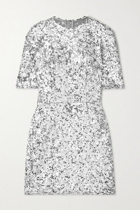 Dolce & Gabbana Sequined Stretch-tulle Mini Dress - Silver