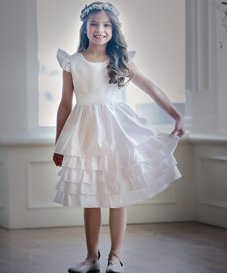 Off-White Think Pink Bows Girls' Special Occasion Dresses Off Sabrina Dress - Infant & Girls