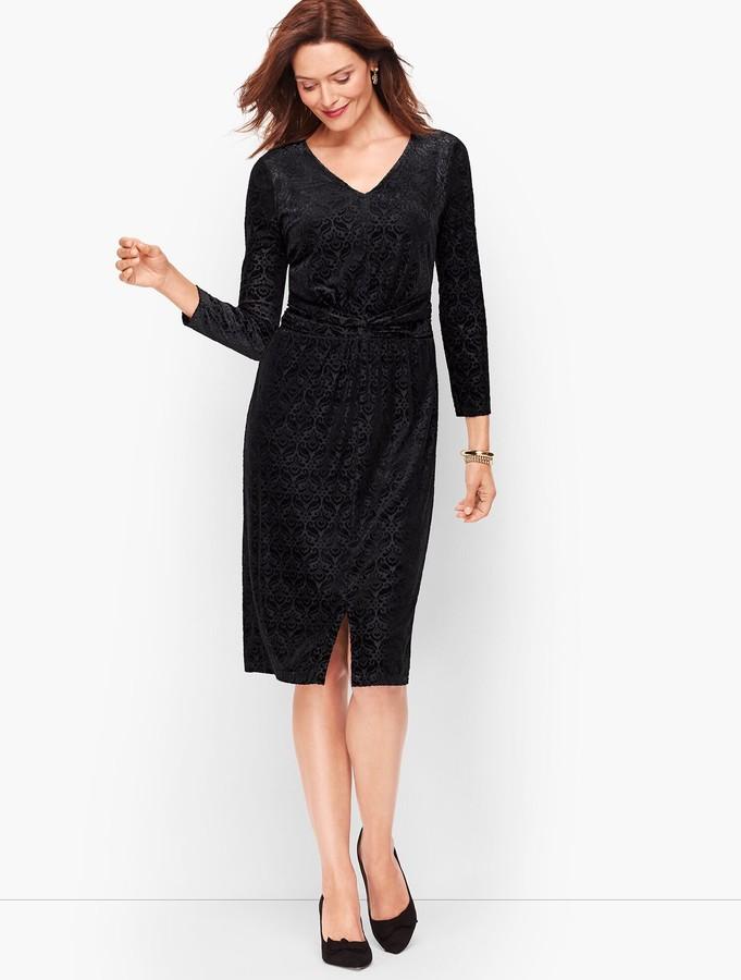 Talbots Velvet Jacquard Sheath Dress