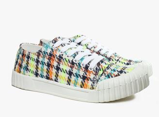Good News Bagger Neon Check Low Shoes - sz 36 | organic cotton | ecru | Multi Coloured Floral Print - Ecru