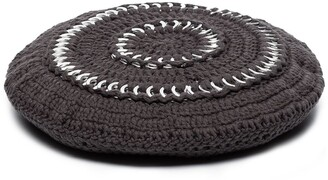 Ganni Crochet-Knit Cotton Beret