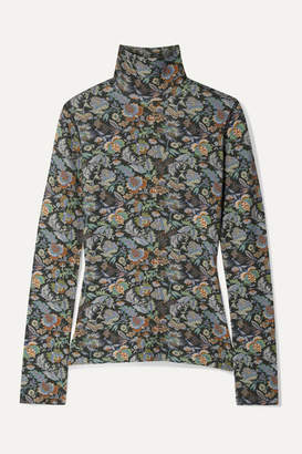 See by Chloe Floral-print Stretch-jersey Turtleneck Top - Green