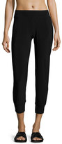Norma Kamali Gathered-Ankle Jogger Pants, Black