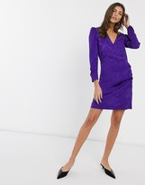 And other stories & jacquard wrap front mini dress in purple