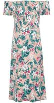 River Island Girls pink tropical shirred bardot maxi dress