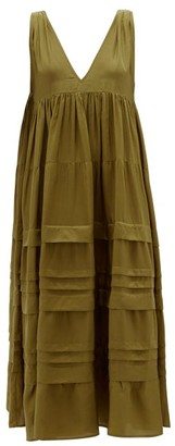Anaak - Airi Pintucked Silk-habutai Maxi Dress - Olive Green