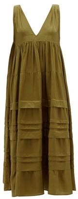 Anaak - Airi Pintucked Silk-habutai Maxi Dress - Womens - Olive Green