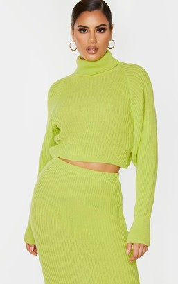 SWAGGER Tall Neon Green Roll Neck Cropped Knitted Jumper
