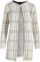August Silk Cream Windowpane Textured Long Open Cardigan