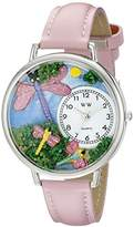 Whimsical Watches Dragonflies Pink Leather and Silvertone Unisex Quartz Watch with White Dial Analogue Display and Multicolour Leather Strap U-1210007