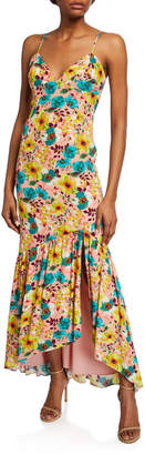 Aidan Mattox Floral-Print Spaghetti-Strap Maxi Dress w/ Open Back