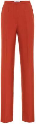 Prada High-rise straight wool pants