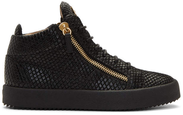 Giuseppe Zanotti Black Snake May London Gigas High-Top Sneakers