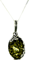 Goldmajor Sterling Silver Oval Amber Pendant, Silver/Green