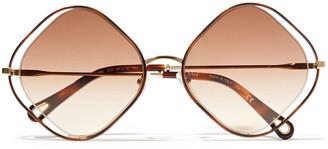 Chloé Octagon-frame Gold-tone And Tortoiseshell Acetate Sunglasses