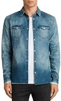AllSaints Ikeola Distressed Chambray Slim Fit Button-Down Shirt