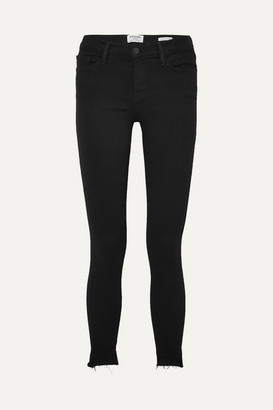 Frame Le Skinny De Jeanne Raw Stagger Mid-rise Jeans - Black