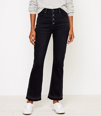LOFT High Rise Flare Crop Jeans in Washed Black Wash
