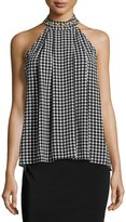 MICHAEL Michael Kors Grommet-Embellished Halter-Neck Top, Black Pattern