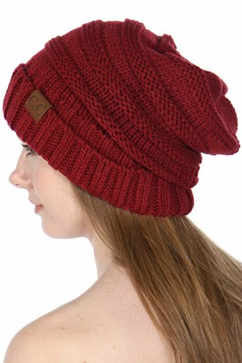 Serenita CC Beanies for Women   Slouchy Knit Beanie hat for Women Soft Warm Cable Winter Chunky CC Hats - Red - One Size