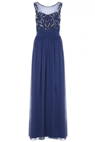 Quiz Navy Chiffon Embroidered Beaded Maxi Dress
