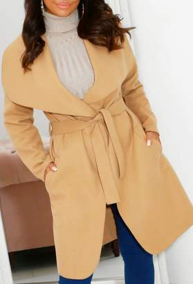 Pink Boutique Rubie Sand Belted Waterfall Coat