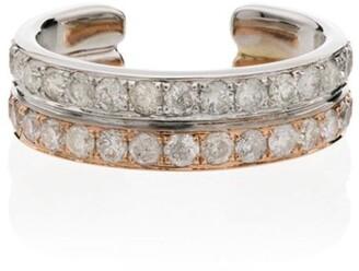 Yvonne Léon 18K gold and 18K rose gold double diamond earcuff