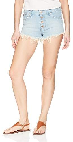 James Jeans Women's Cheeky Button-Fly Frayed Cut-Off Shorts in