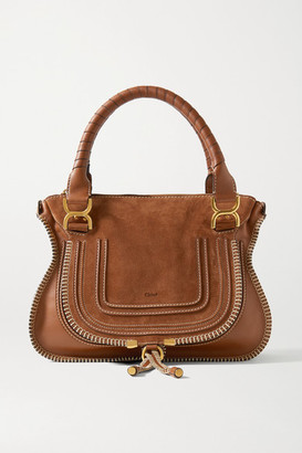 Chloé Marcie Medium Suede And Textured-leather Tote - Tan