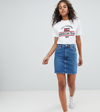 Asos DESIGN Tall denim original high waisted skirt in midwash blue