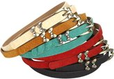 BMC Gold Metal Accents Faux Leather Womens Fashion Skinny Belts - 5 Color Set